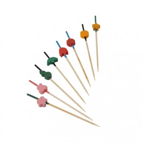 Pique en bambou coloré assortiments 90 mm