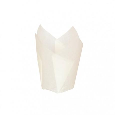 Caissette de cuisson silicone blanche forme tulipe 90ml