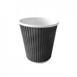 Gobelet carton noir ondule 230ml