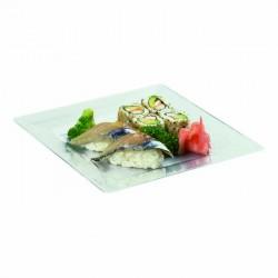 Assiette carrée transparente 200x200mm