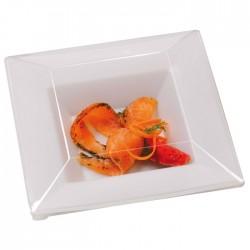 Assiette carrée creuse transparente 215x215mm