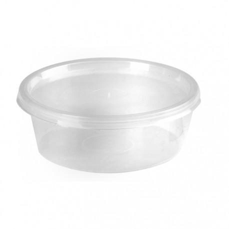Barquette ronde en plastique recyclable avec couvercle 250 ml