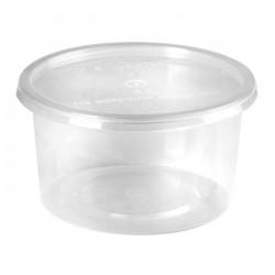 Barquette ronde en plastique recyclable avec couvercle 450 ml