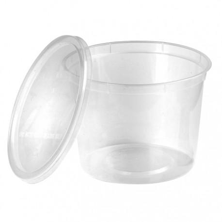 Barquette ronde en plastique recyclable avec couvercle 650 ml