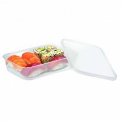 Barquette rectangulaire avec couvercle plastique recyclable 500 ml