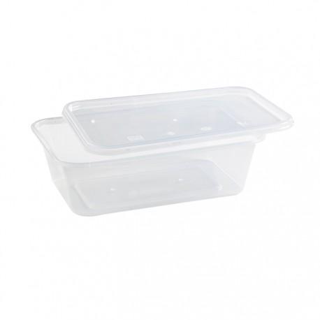 Barquette rectangulaire avec couvercle plastique recyclable 650 ml