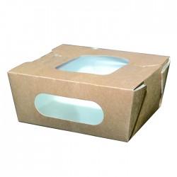 Boite en carton kraft double fenêtre avec couvercle attaché 450 ml