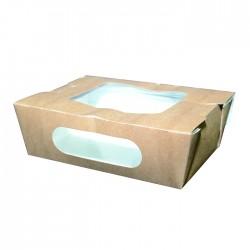 Boite en carton kraft double fenêtre avec couvercle attaché 700 ml