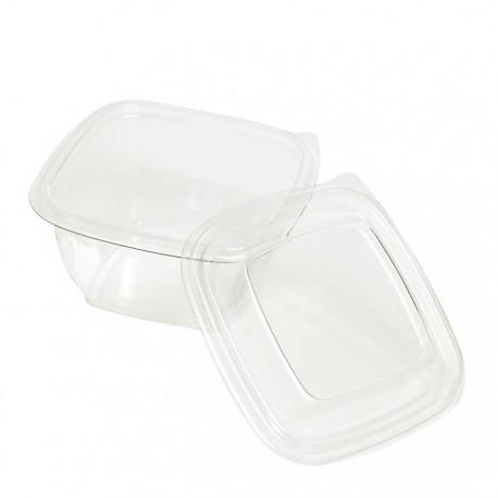 Saladier carré RPET transparent avec couvercle 240 ml