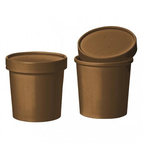 Pot à soupe en carotn kraft marron avec couvercle 12 Oz