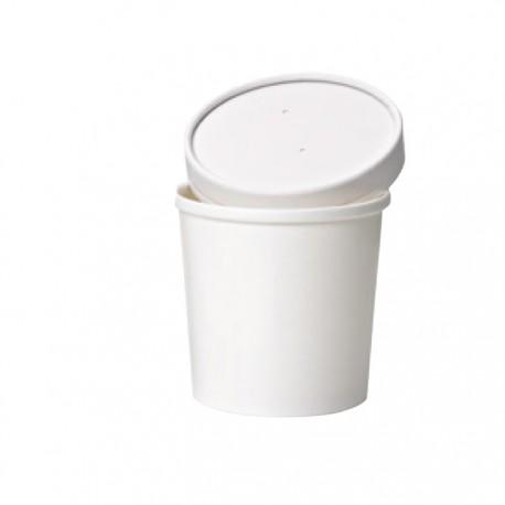 Pot à soupe en carton blanc 480 ml/ 16 Oz avec couvercle