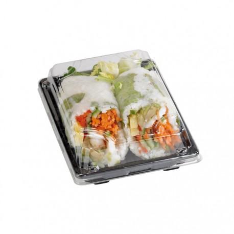 Barquette sushi noire avec couvercle transparent 220x140x40mm