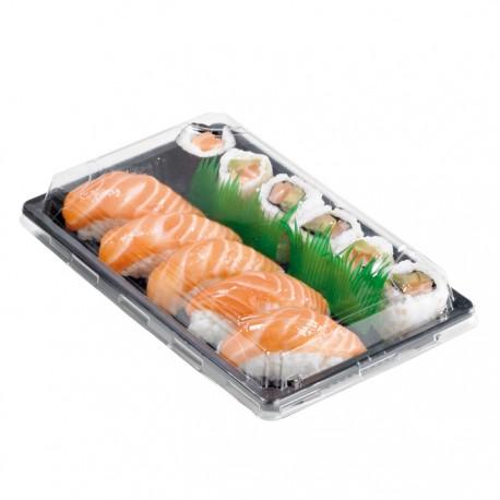 Barquette sushi noire avec couvercle transparent 240x150x40mm