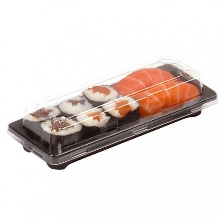 Barquette sushi noire avec couvercle transparent 140x80x40mm
