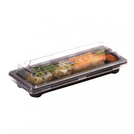 Barquette sushi noire avec couvercle transparent 165x90x40mm