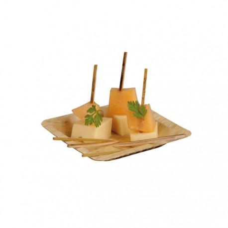 Assiette en feuille de bambou carée petite