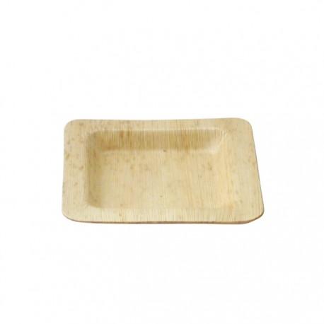 Assiette en feuille de bambou carée moyenne