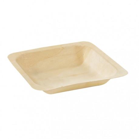 Assiette en bois carrée 140x140 mm