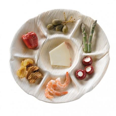 Assiette palmier ronde 7 compartiments