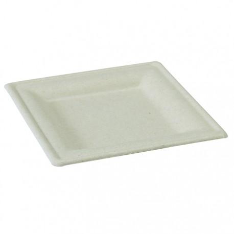 Assiette carrée canne à sucre 260x260 mm