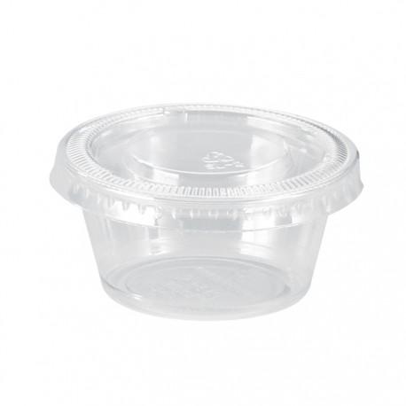 Pot en PP transparent avec couvercle plat 22ml / 0,75 Oz