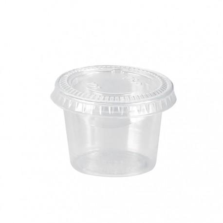 Pot en PP transparent avec couvercle plat 30ml / 1 Oz