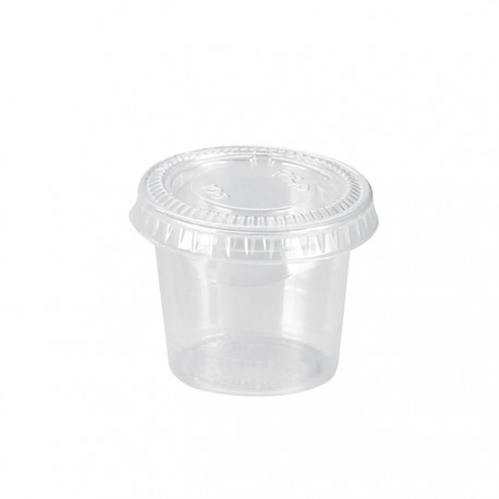 Pot en PP transparent avec couvercle plat 45ml / 1,5Oz