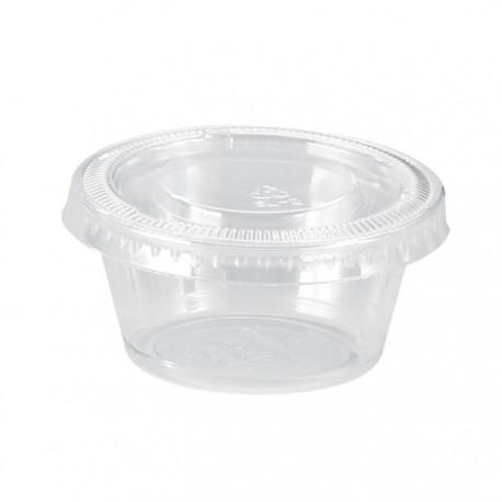 Pot en PP transparent avec couvercle plat 45ml / 1,5Oz