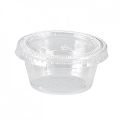 Pot en PP transparent avec couvercle plat 60ml / 2Oz