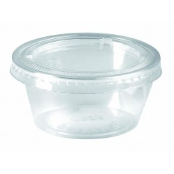 Pot en PP transparent avec couvercle plat 90ml / 3,25 Oz