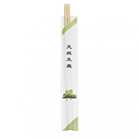 Paire de baguette en bambou dans étuis en papier blanc 240mm