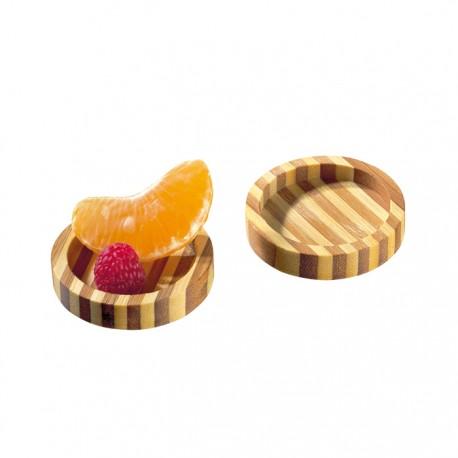 Assiette mini bambou ronde bicolore 50 mm