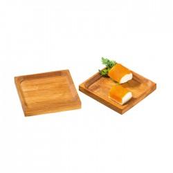 Assiette en bambou carrée avec rebord 60x60 mm