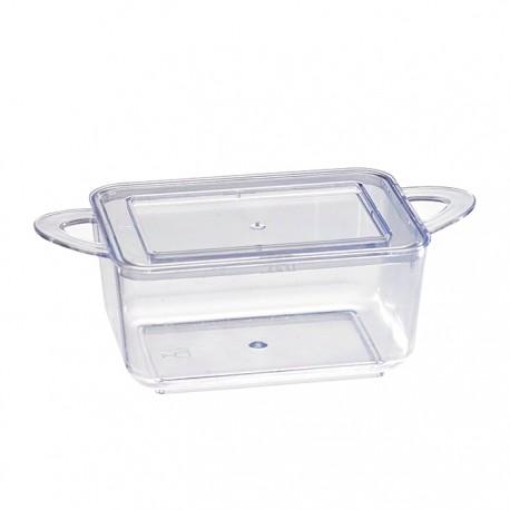 Mise en bouche transparente rectangulaire en plastique