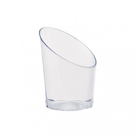 Mise en bouche transparente biseautée en plastique