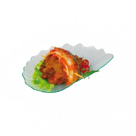 Assiette feuille verte transparente en plastique 105x70 mm