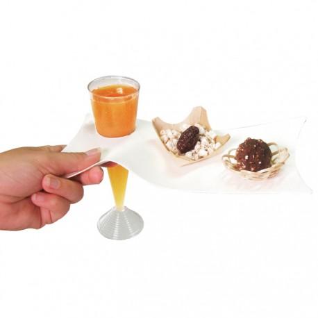 Assiette cocktail pulpe avec trou pour coupe à champagne