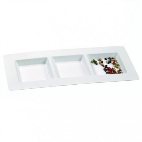 Assiette pulpe rectangulaire avec trois compartiments